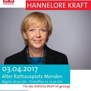 Hannelore Kraft in Menden - Plakat